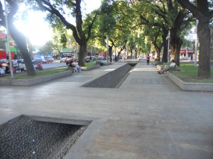 Recent irrigation channel construction in downtown Mendoza (good precedent for SUDS in any city in the world)