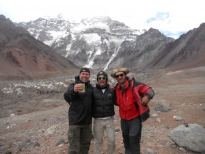 With Hew and mountain guide Angel Armesto at top of the glacier Placa Francia with Aconcagua , the highest peak in the Americas behind
