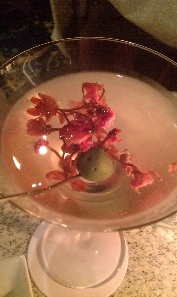 Cherry blossom in a drink