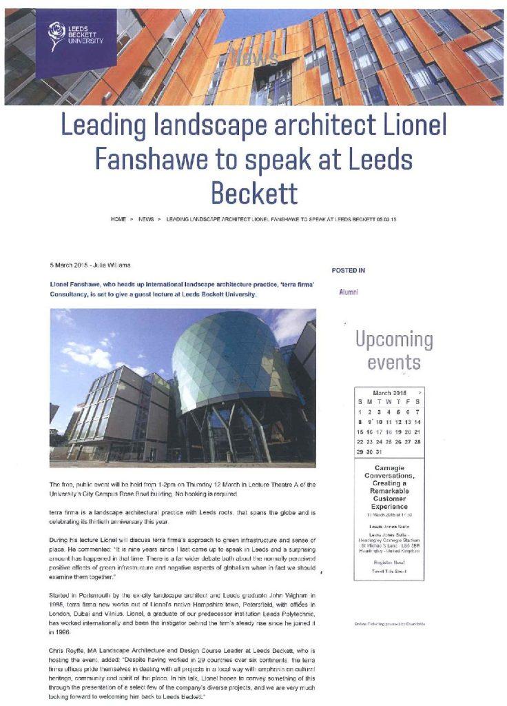 Lionel Fanshawe to speak at Leeds Beckett University